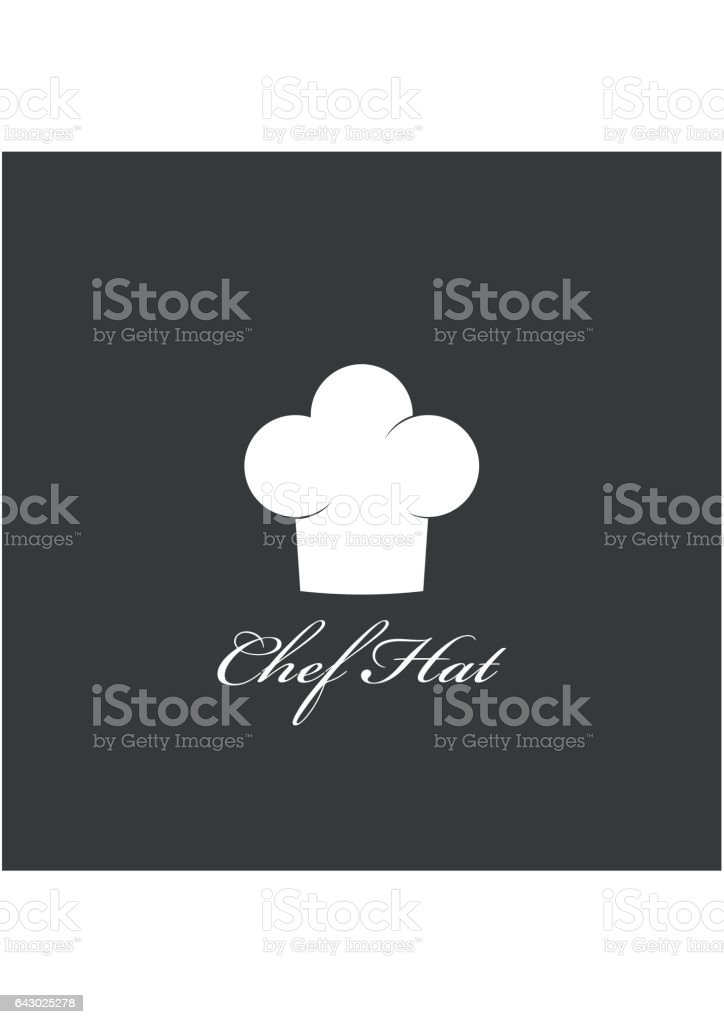 Chef hat icon isolated on dark background. Clothing cook in flat style. Vector Illustration vector art illustration