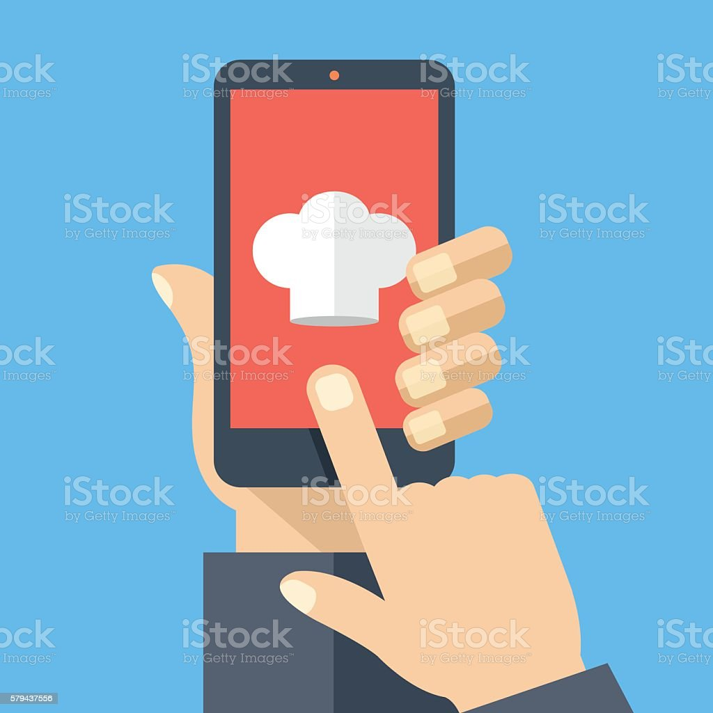 Chef hat icon on smartphone screen. Online recipes. Vector illustration vector art illustration