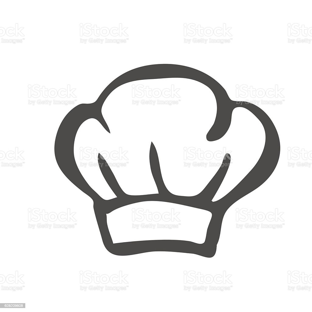 Chef hat silhouette isolated. Black hat chef cook for logo. vector art illustration