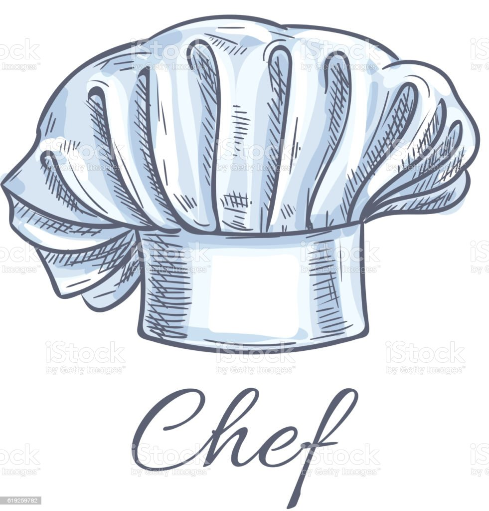 chef hat vector isolated doodle sketch icon stock vector