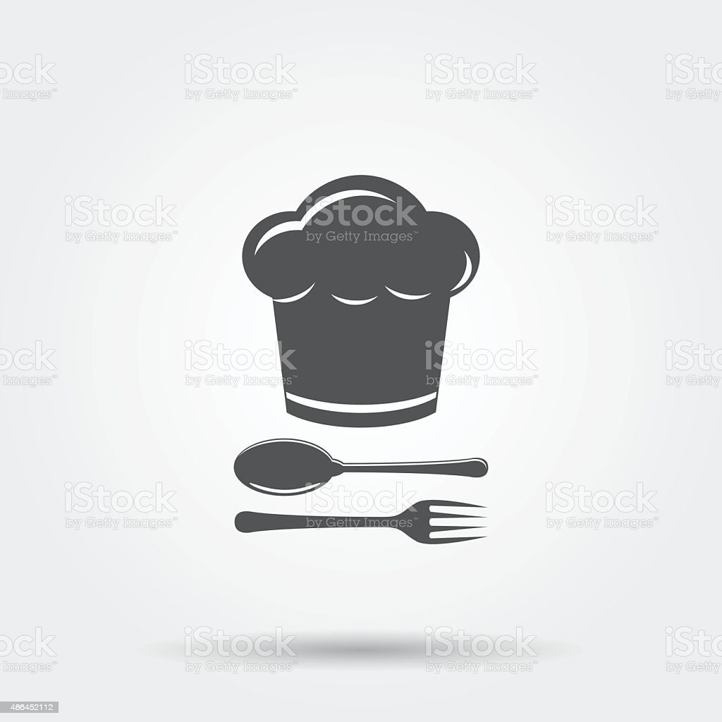 Chef hat with cutlery vector art illustration