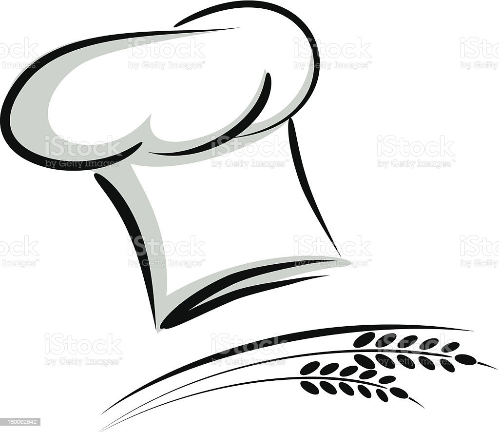 chefs hat drawingknives and chefu0027s hat vector image