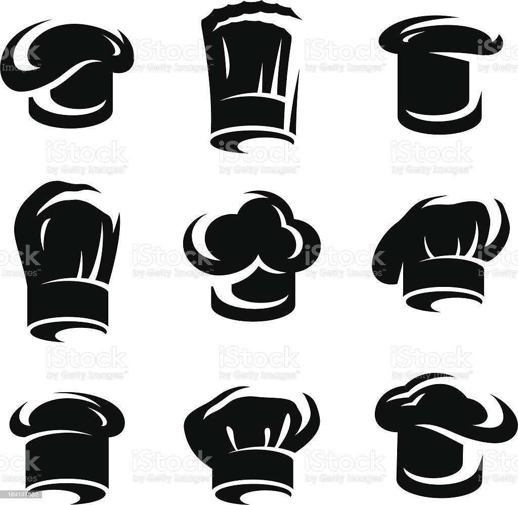 chef hats set. Vector royalty-free stock vector art