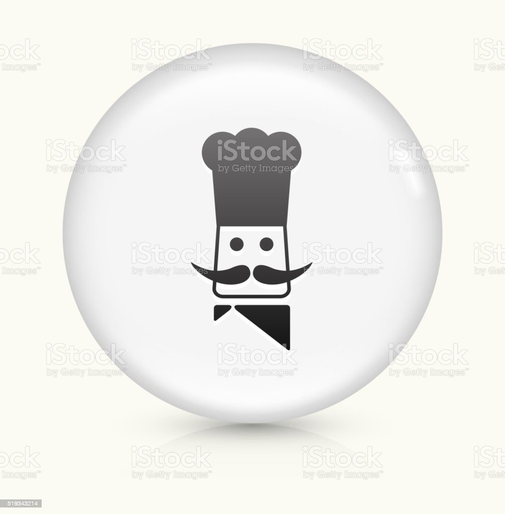 Chef Head icon on white round vector button vector art illustration