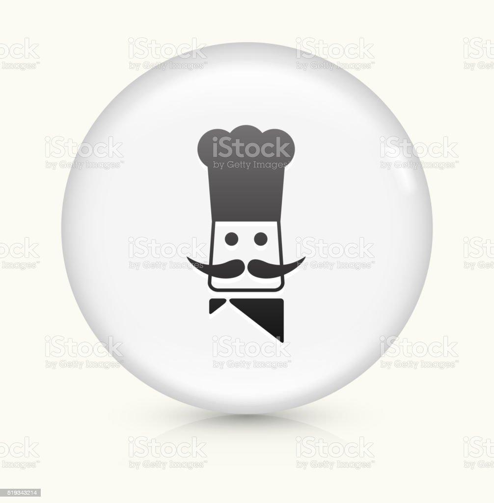 Chef Head icon on white round vector button vector art illustration