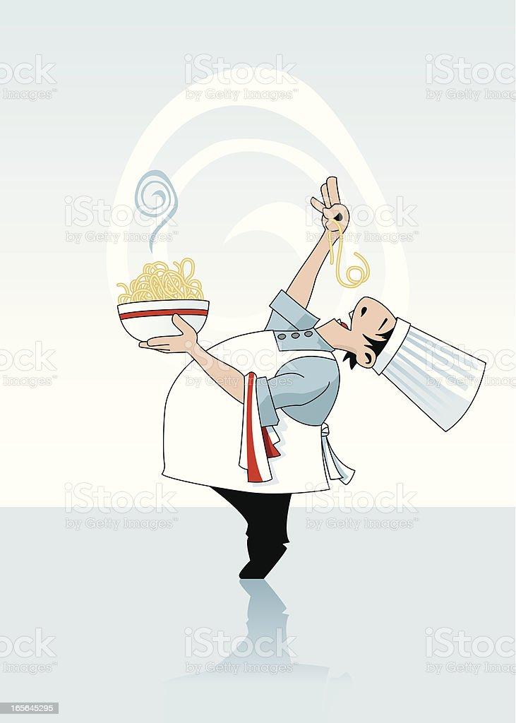 Chef Holding a Bowl of Spaghetti vector art illustration