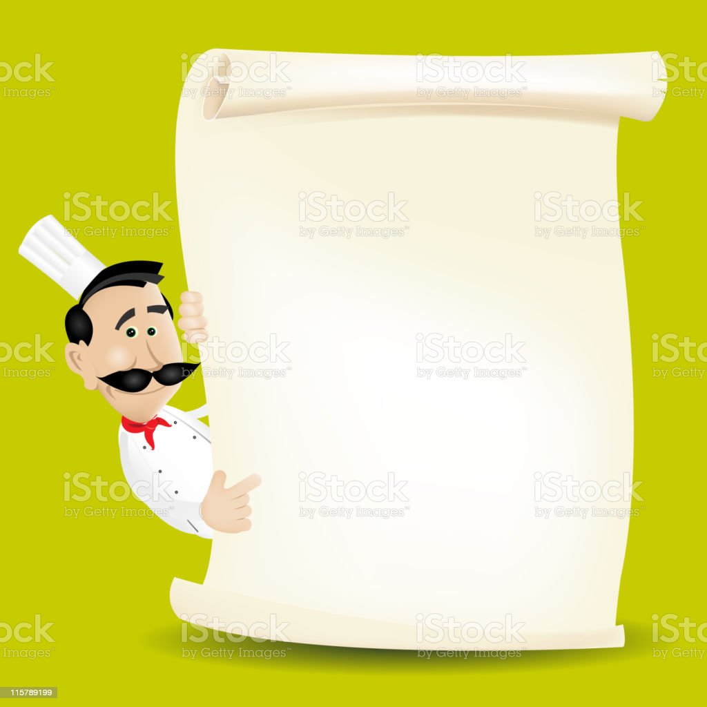 Chef Holding A Parchment Menu royalty-free stock vector art