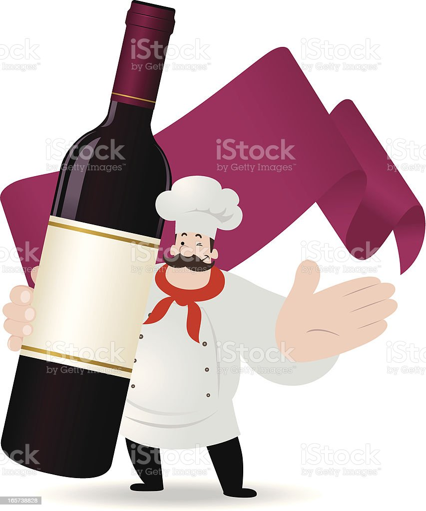 Chef holding a red wine bottle royalty-free stock vector art