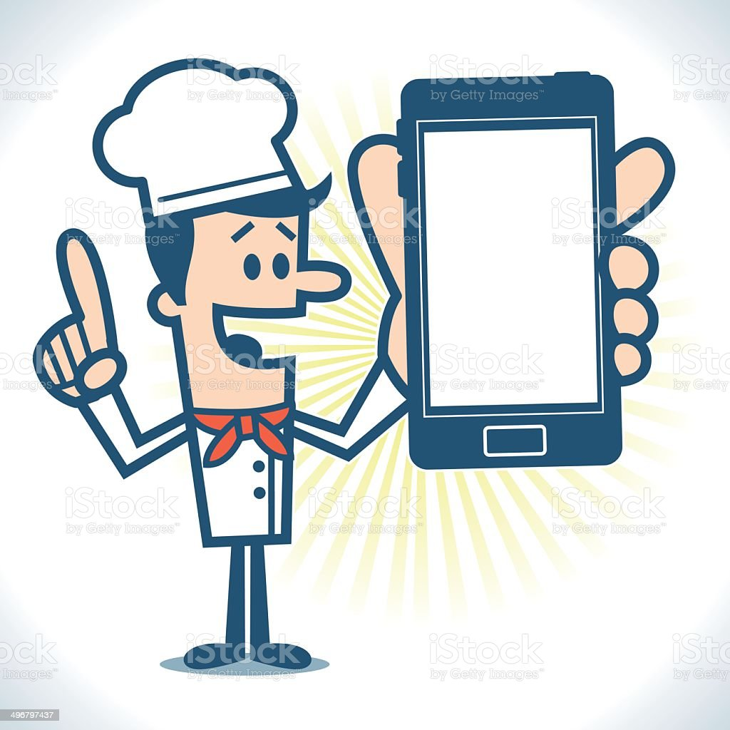 Chef holding a smartphone vector art illustration