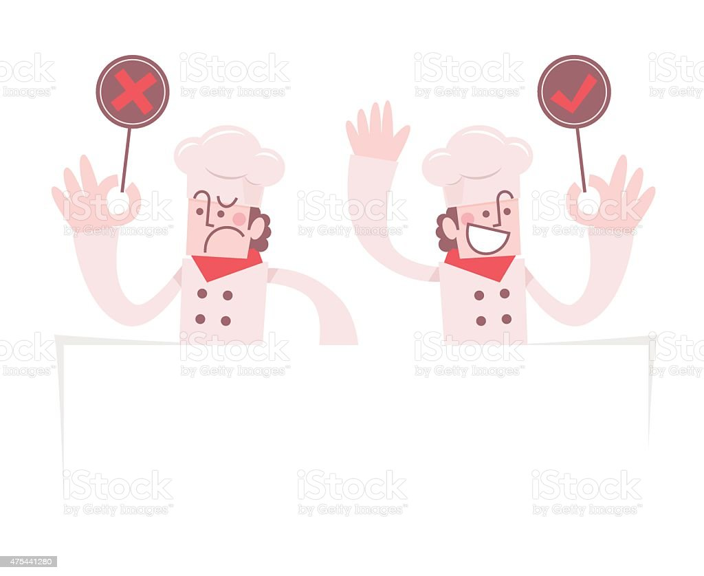 Chef Holding Right (Yes) and Wrong (No) Sign vector art illustration