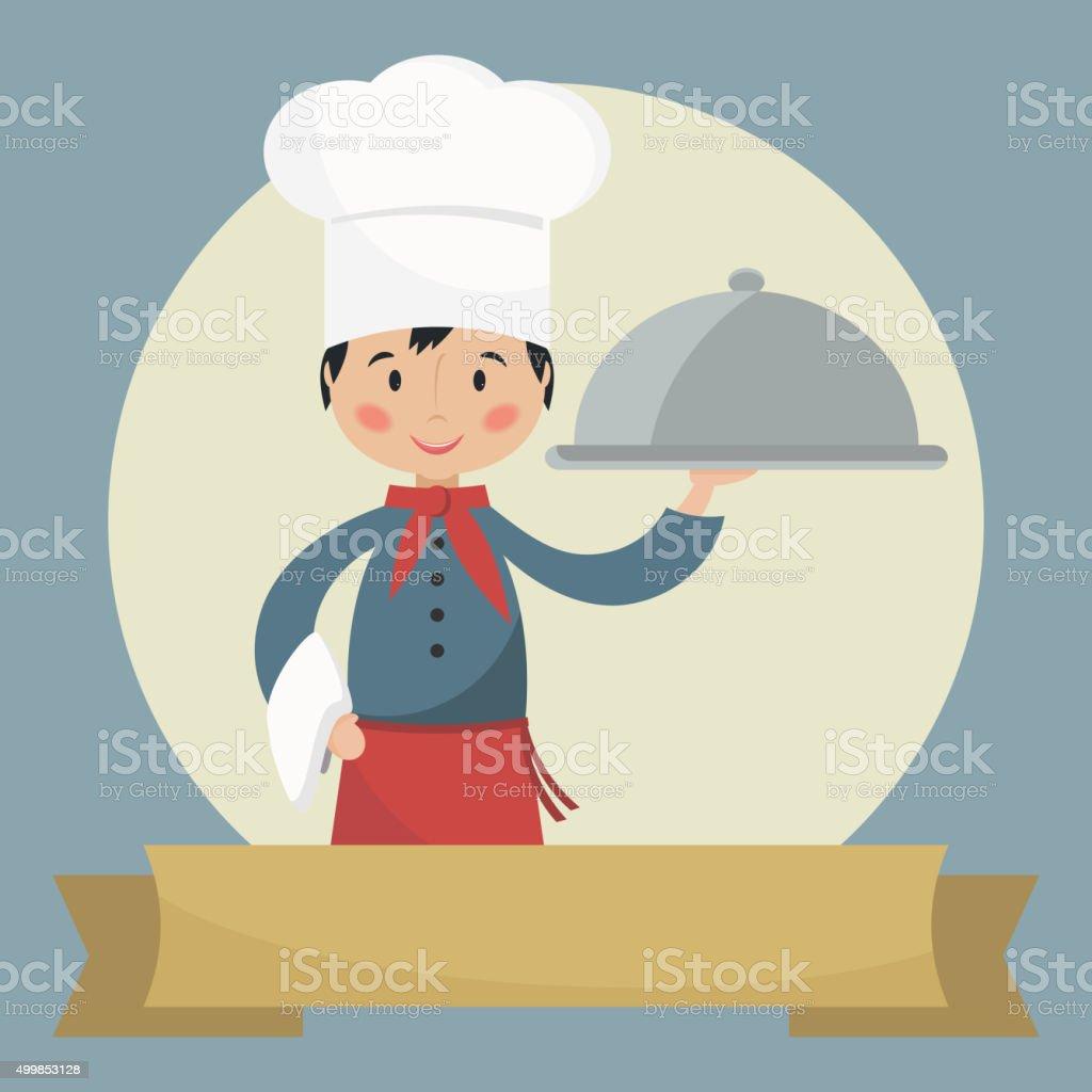 Chef holding silver cloche. vector art illustration