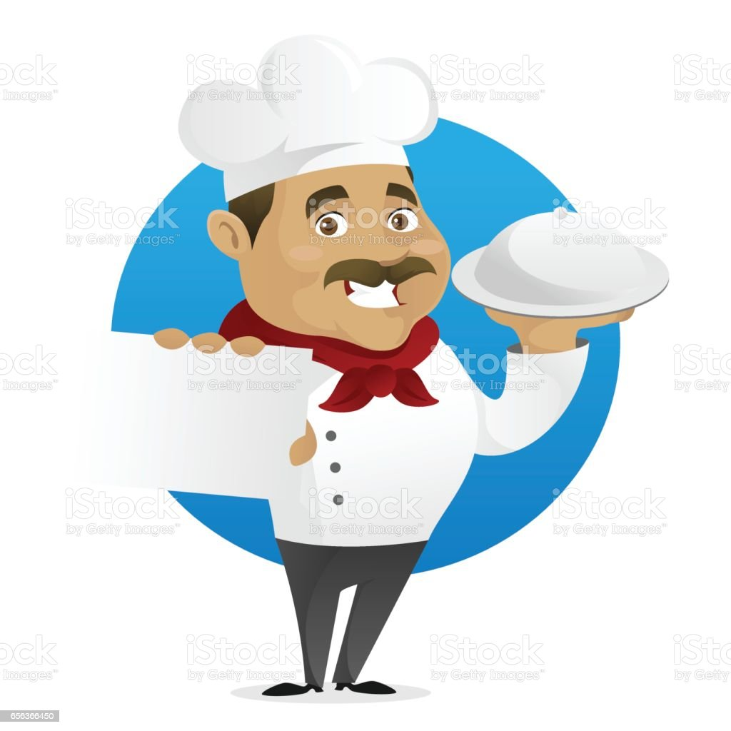Chef holding tray and business card vector art illustration