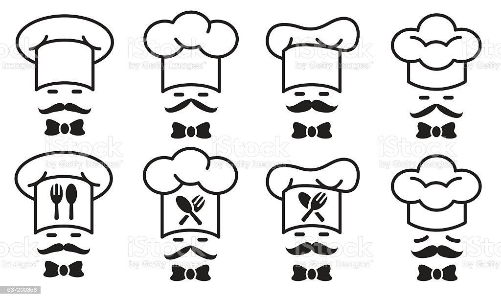 Chef icon set vector art illustration
