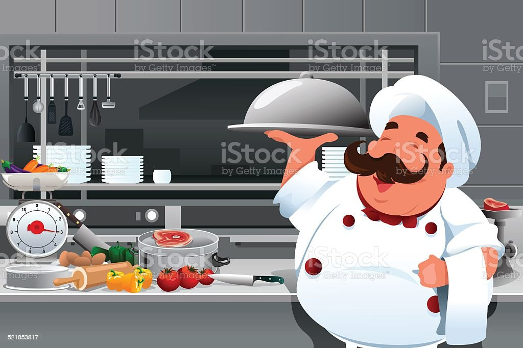 Chef in the kitchen vector art illustration