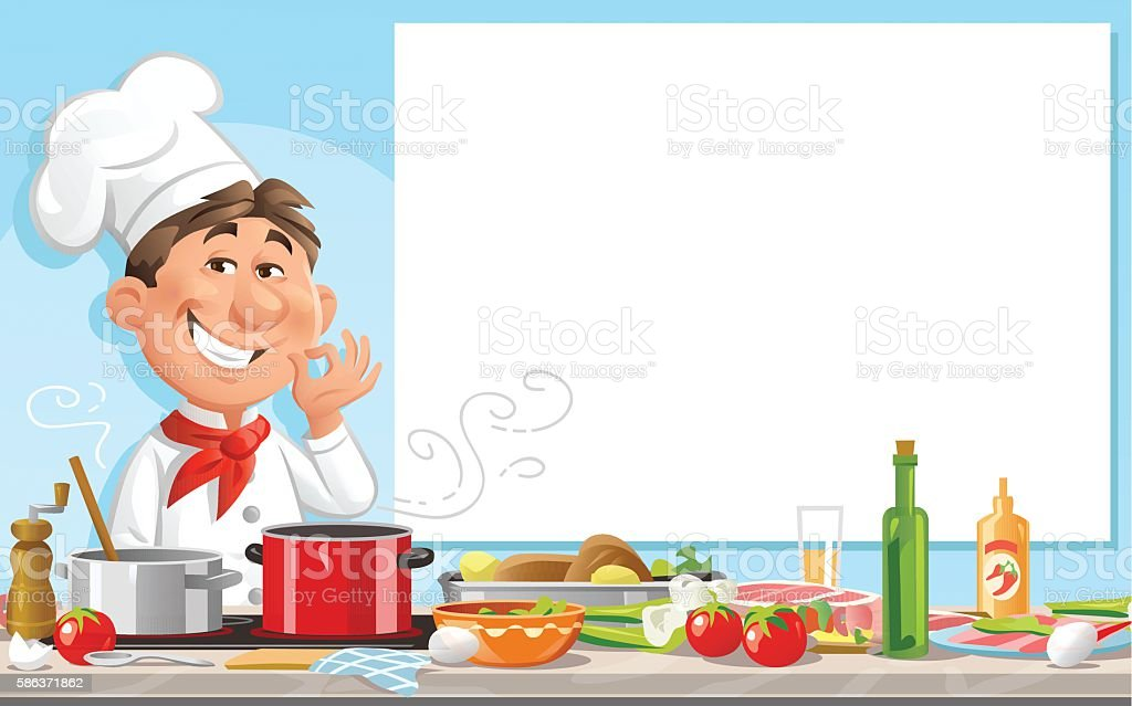 Chef In The Kitchen With Blank Sign vector art illustration