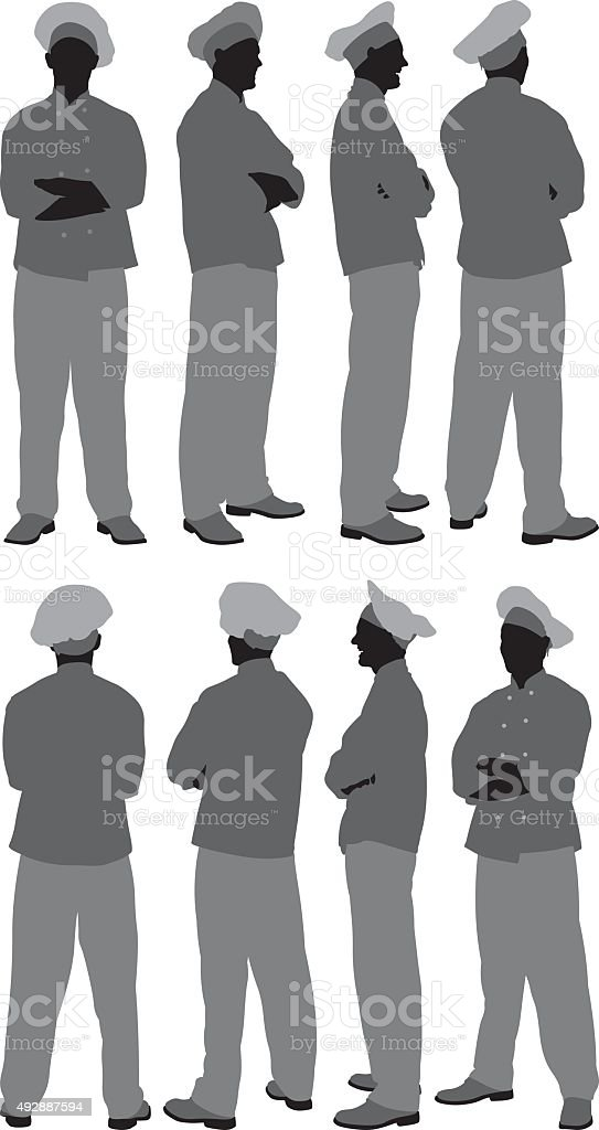 Chef in various poses vector art illustration