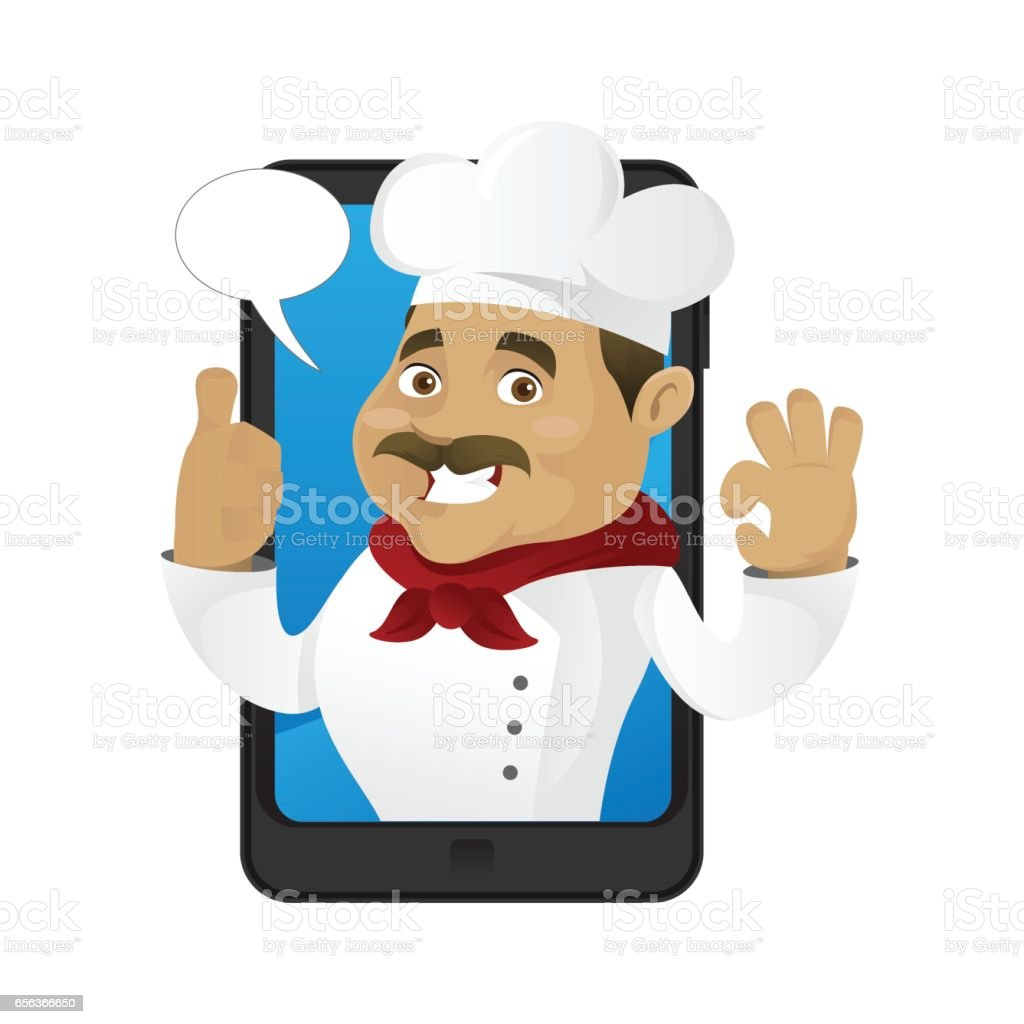 Chef inside phone with bubble word vector art illustration