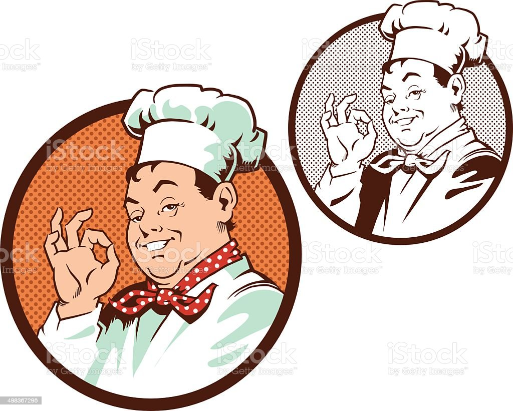 Chef is Satisfied - Color - Black and White vector art illustration
