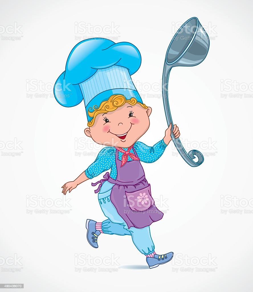 Chef kids with ladle vector art illustration