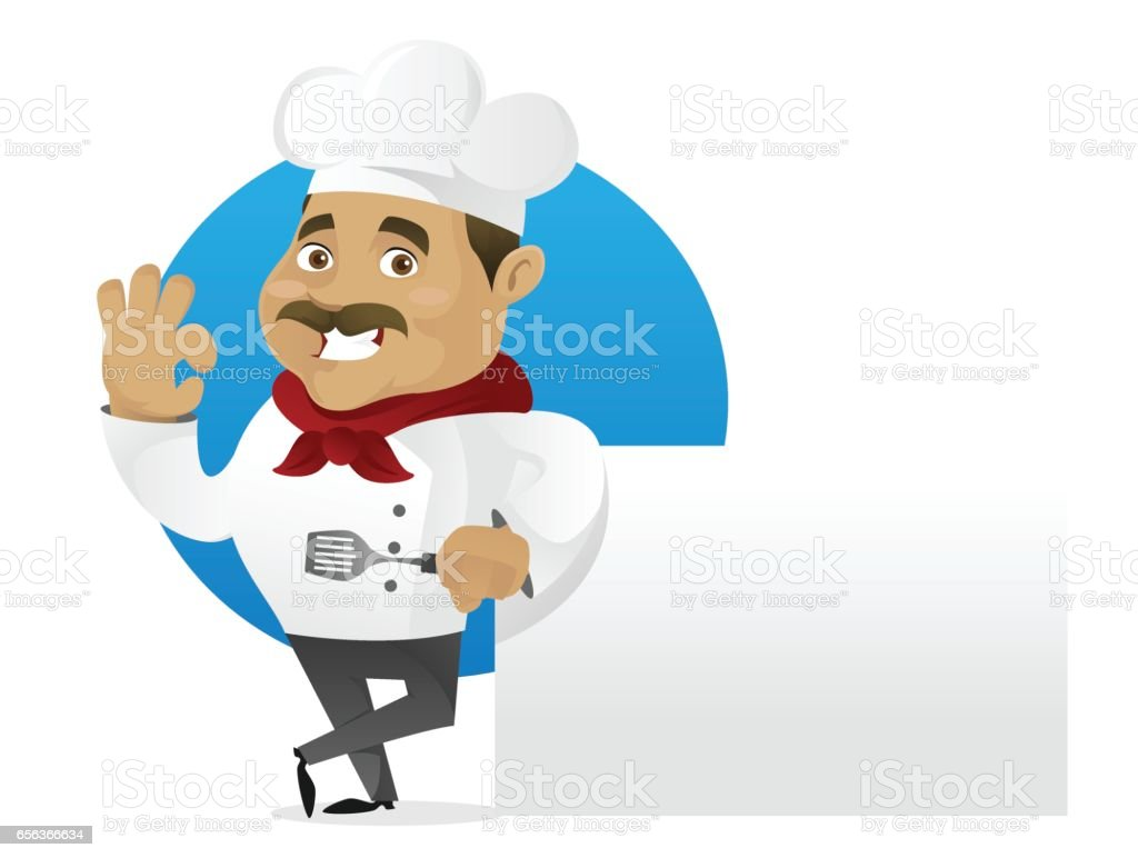 Chef leaning on white background vector art illustration
