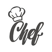 Chef logo. Lettering Hand lettering with a cap chef.
