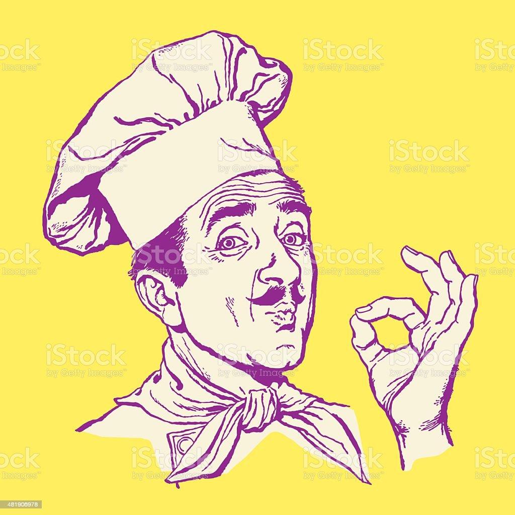 Chef Making OK Hand Signal vector art illustration