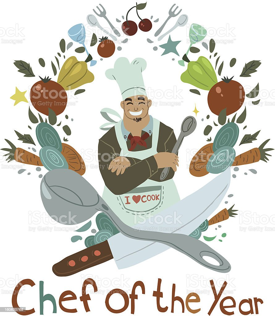 Chef of the Year royalty-free stock vector art