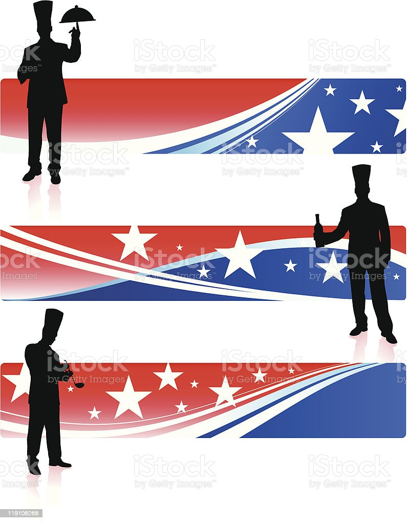 Chef on American Abstract Banners royalty-free stock vector art