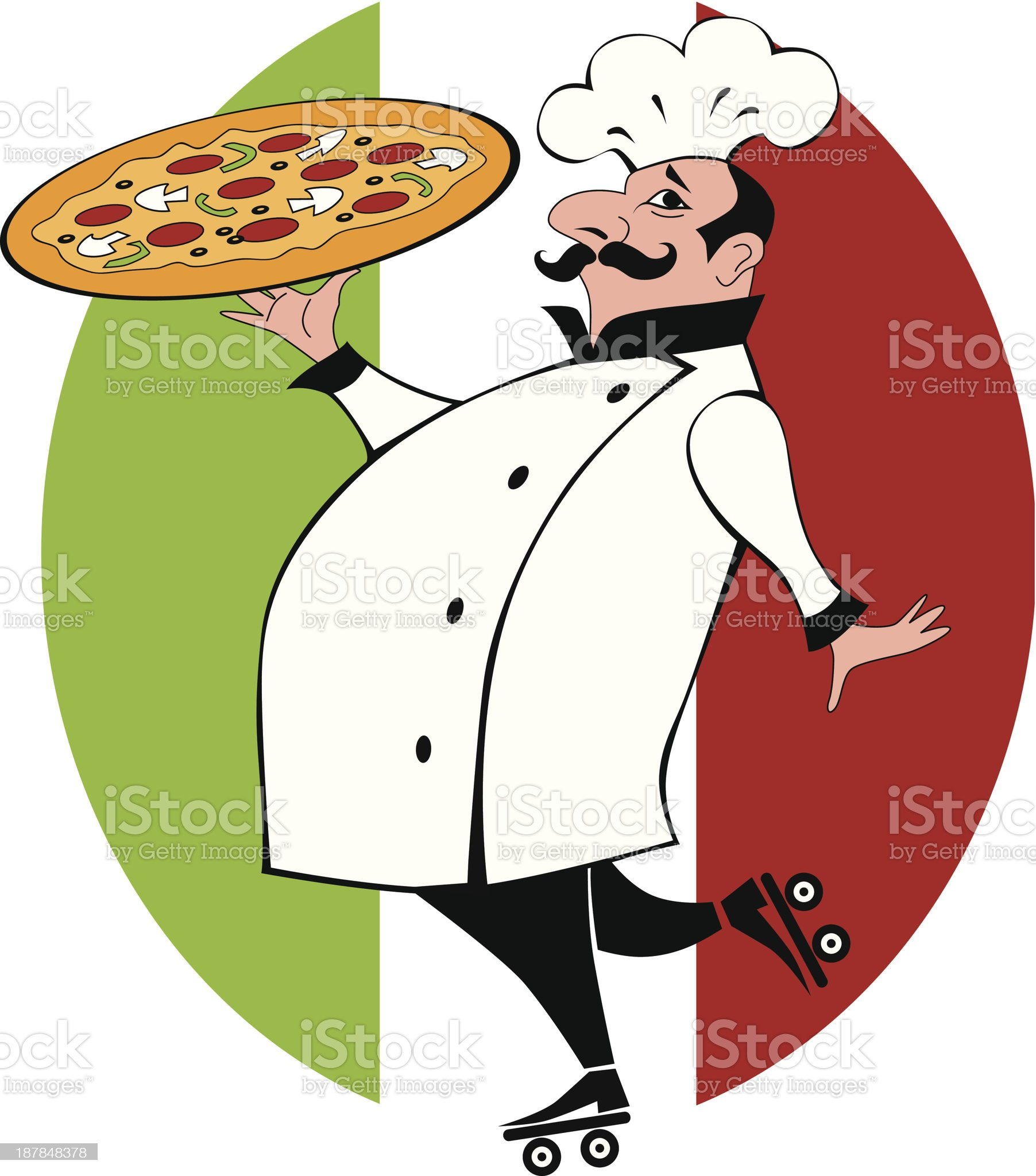 Chef on roller skates bringing a pizza royalty-free stock vector art
