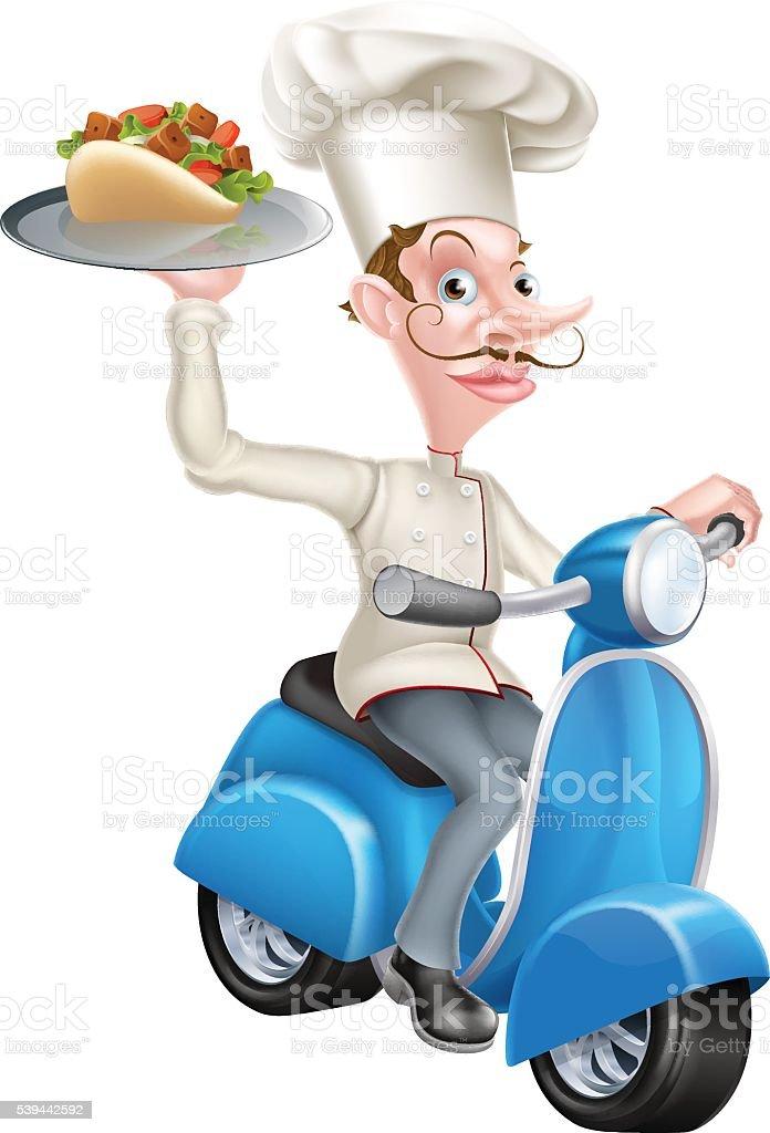 Chef on Scooter Moped Delivering Gyro Kebab vector art illustration