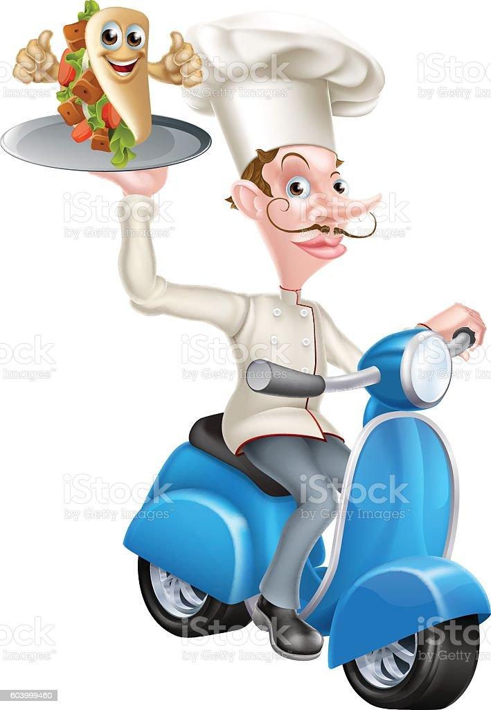 Chef on Scooter Moped Delivering Pita Kebab vector art illustration