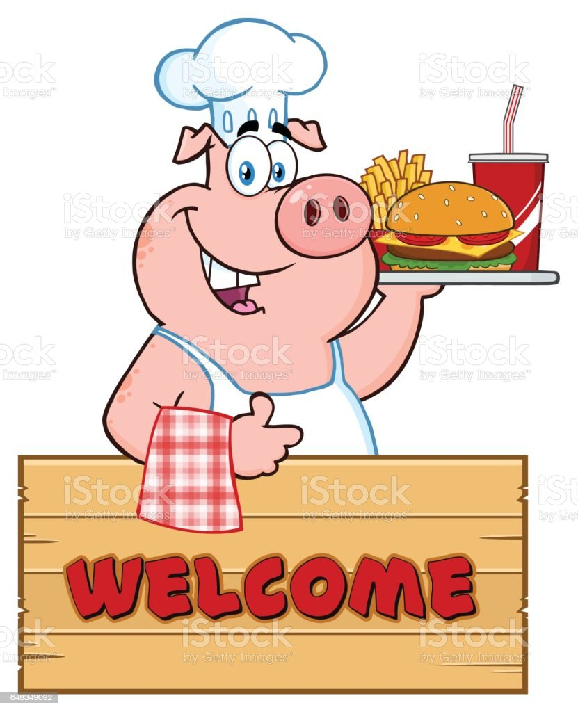 smiling chef pig cartoon mascot character holding a sausage on a
