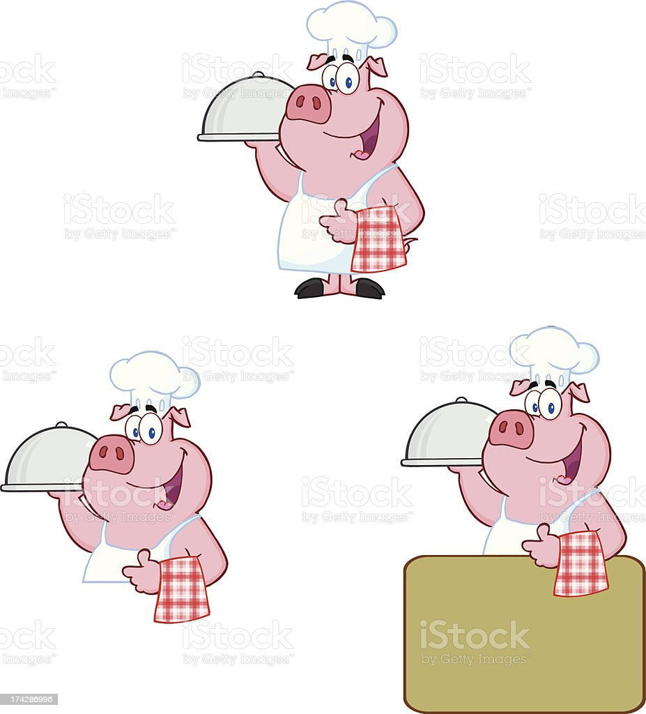 Chef Pig Collection royalty-free stock vector art