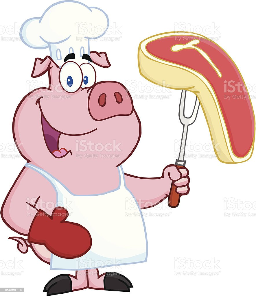 Chef Pig Holding a Beef Steak royalty-free stock vector art