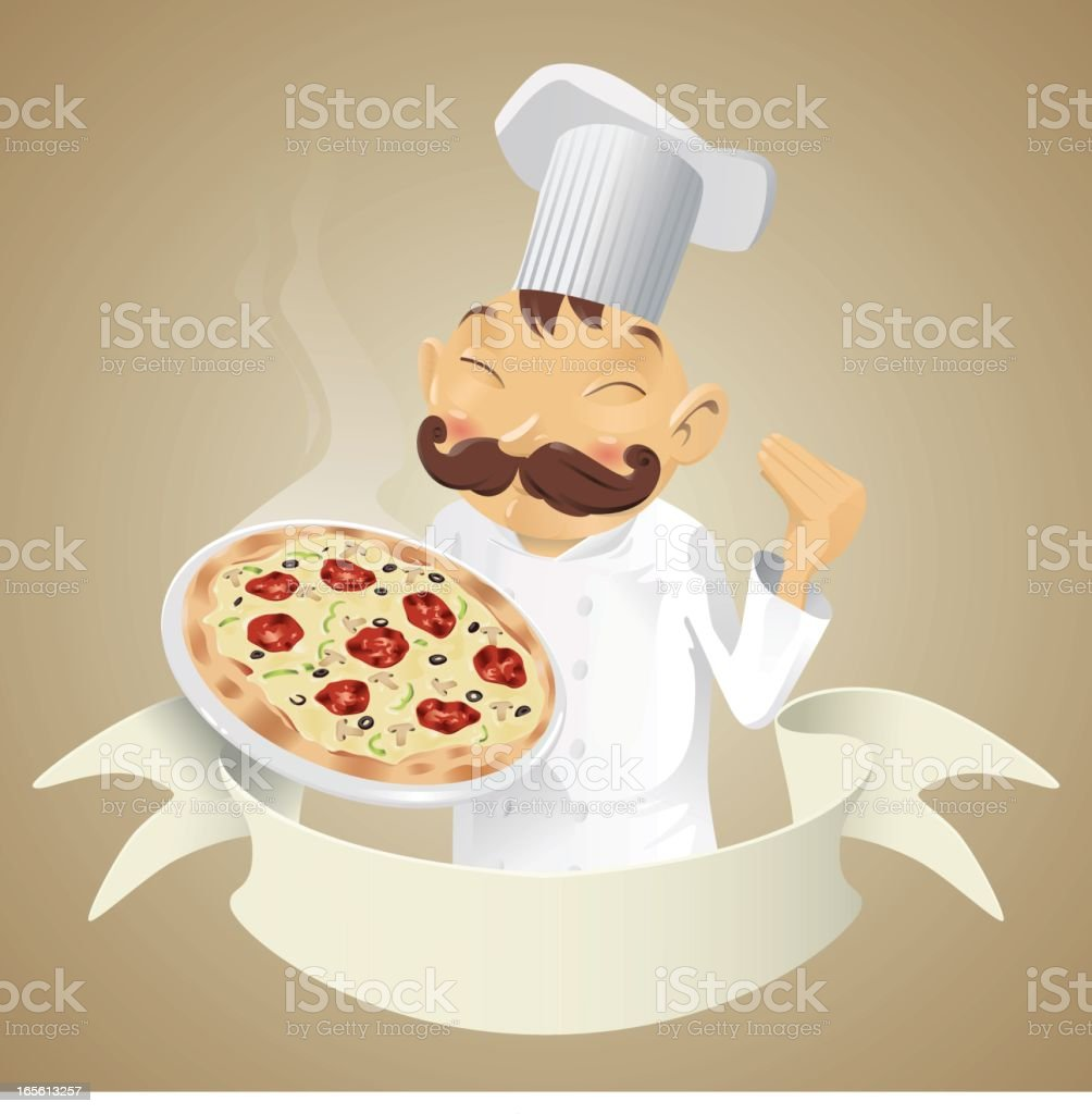Chef pizza - banner royalty-free stock vector art
