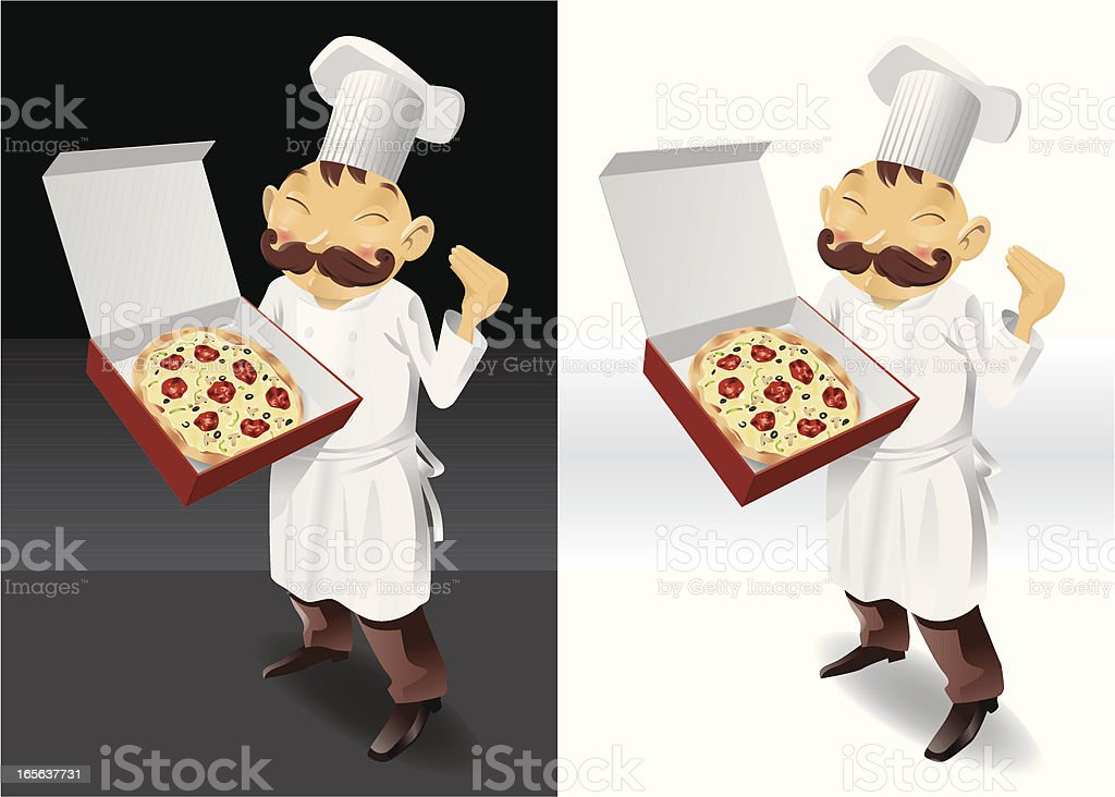 Chef pizza box full picture royalty-free stock vector art