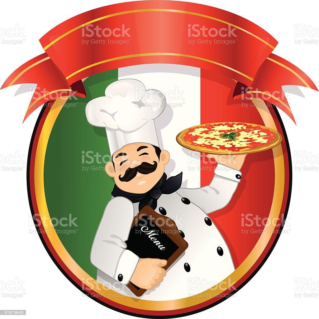 Chef pizza italiana vector art illustration
