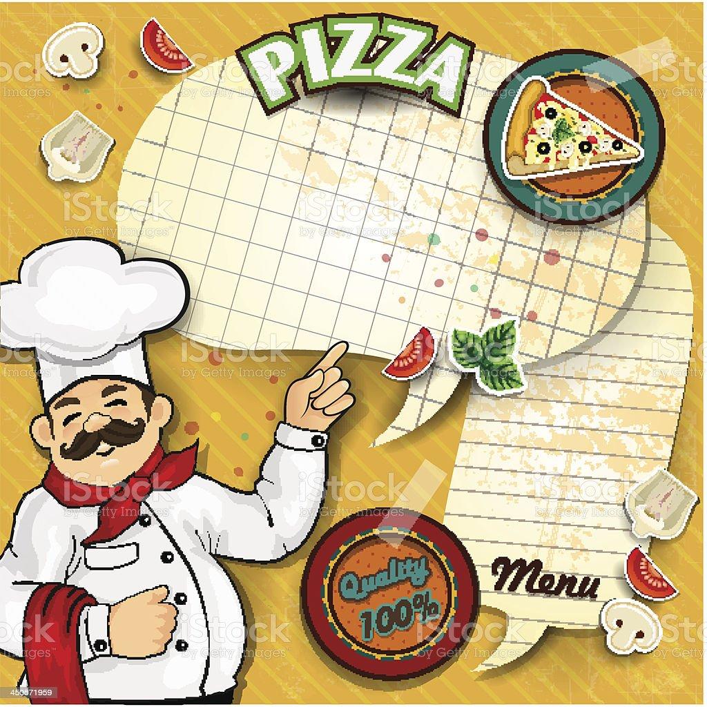 Chef pizza menu paper royalty-free stock vector art