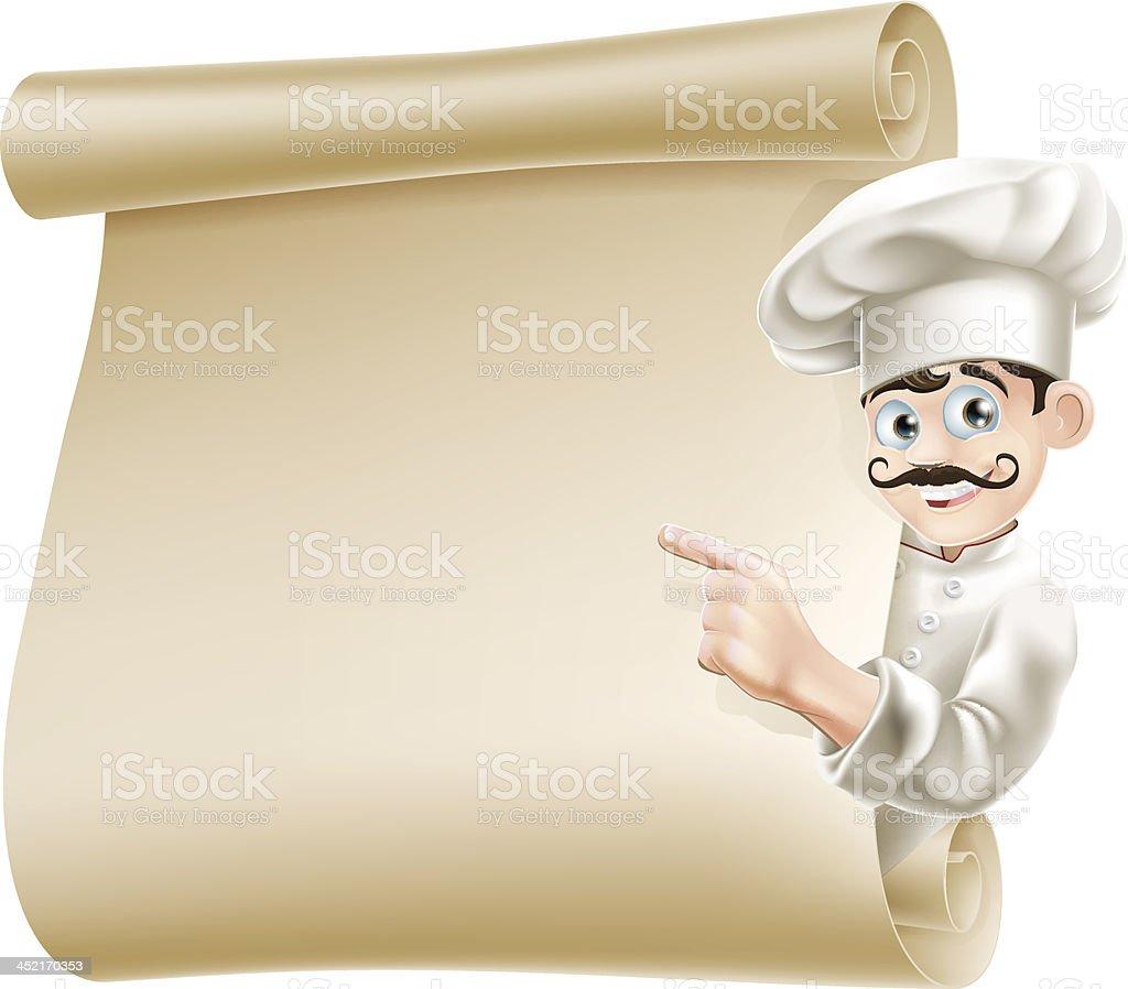 Chef pointing at menu royalty-free stock vector art