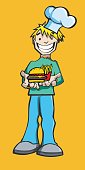 Chef presenting an hamburger and french fries