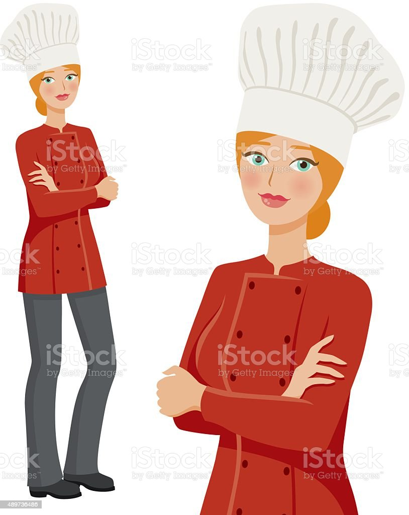 Chef Professional Woman Icons, Full Body and Waist Up vector art illustration