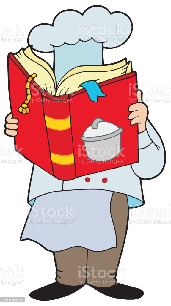 Chef reading cookery book royalty-free stock vector art