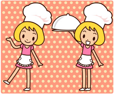 Chef Service ( Happy girl carrying a covered dinner plate) vector art illustration
