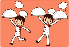 Chef Service ( Happy boy carrying a covered dinner plate ) vector art illustration