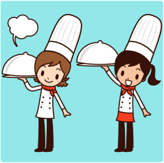 Chef Service (Happy girl carrying a covered dinner plate ) vector art illustration