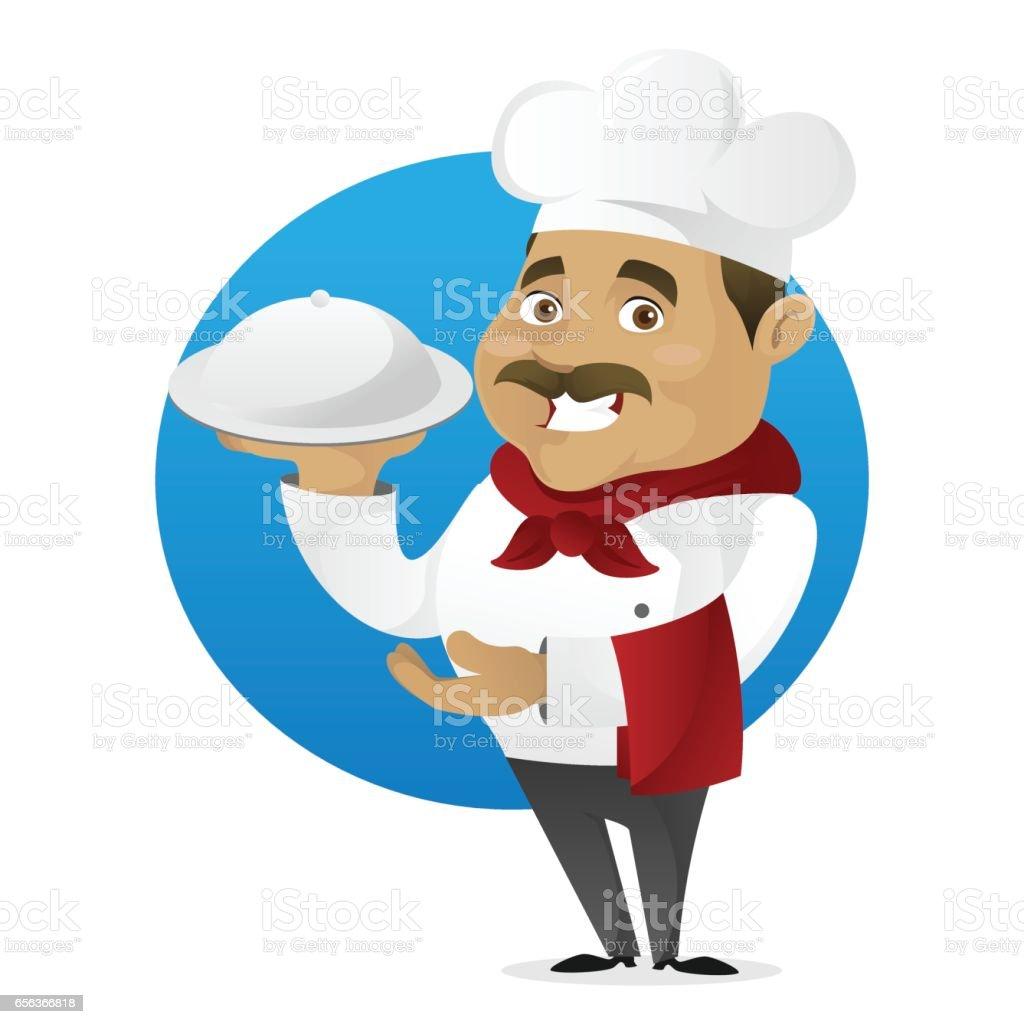 Chef serving food vector art illustration
