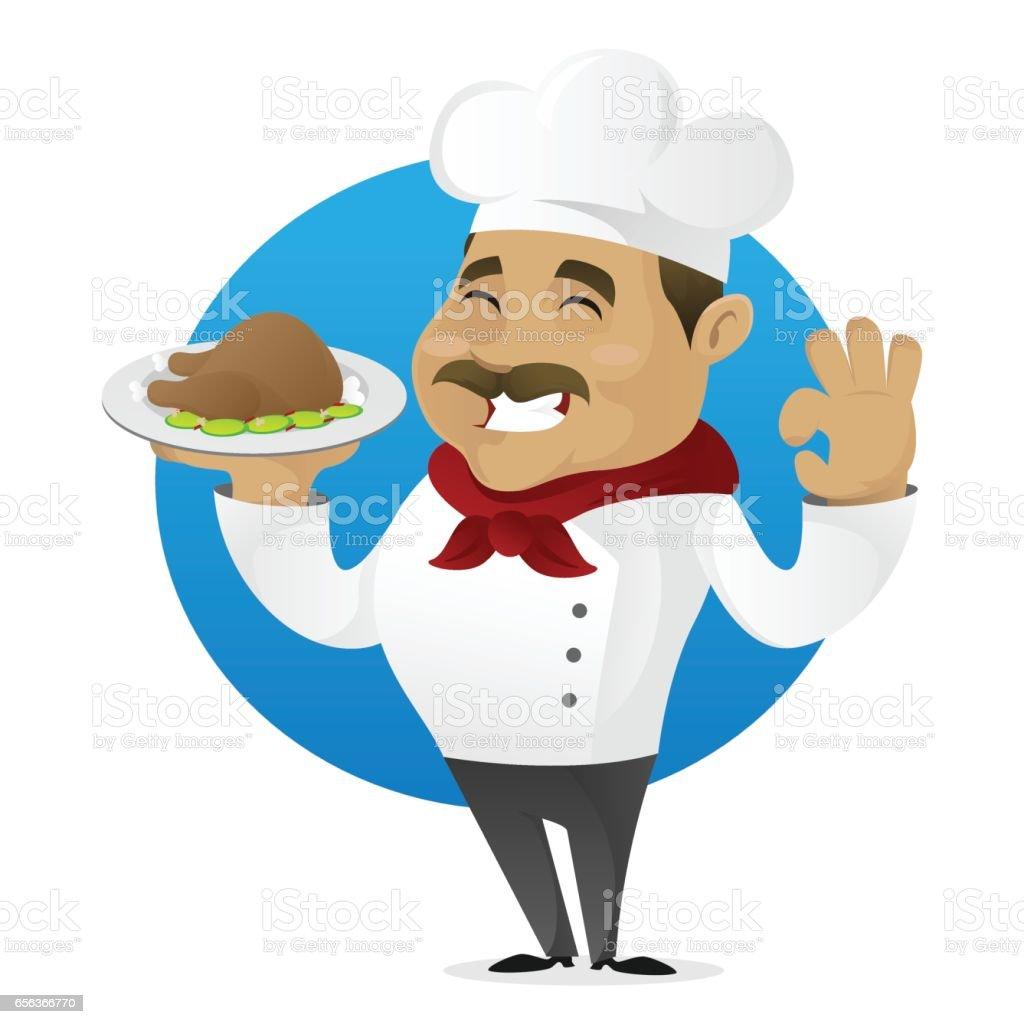Chef serving meat vector art illustration