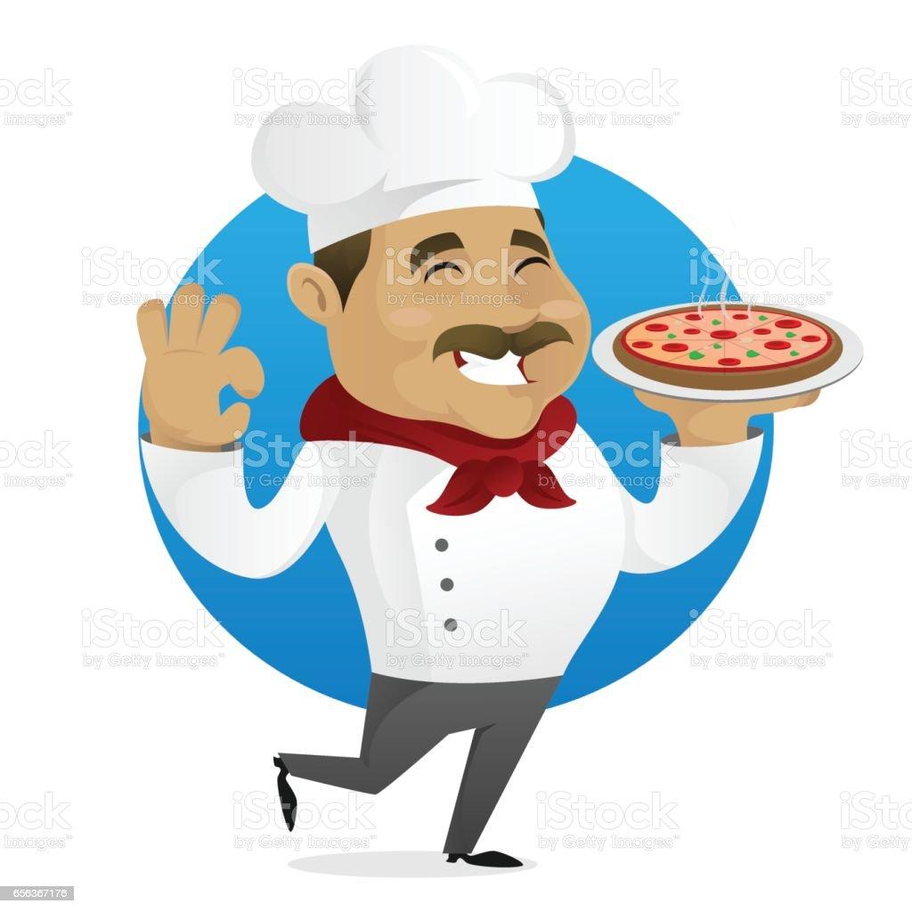 Chef serving pizza vector art illustration
