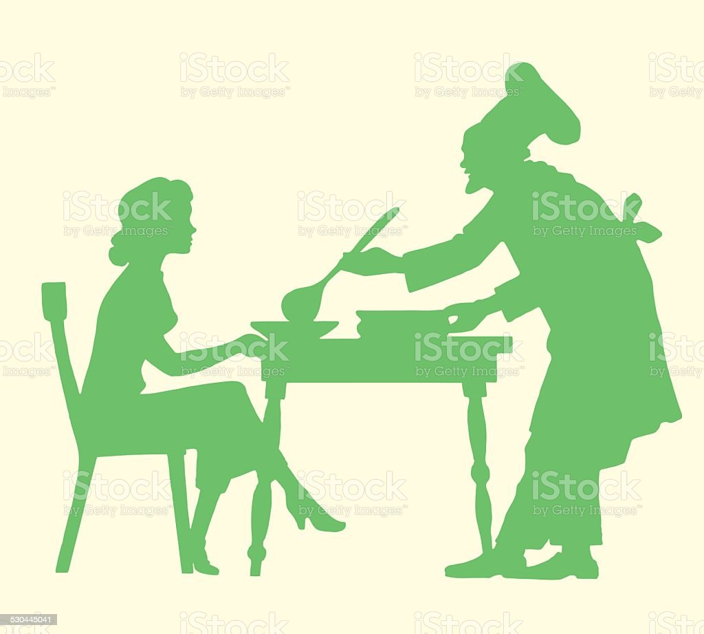 Chef Serving Soup to a Woman vector art illustration