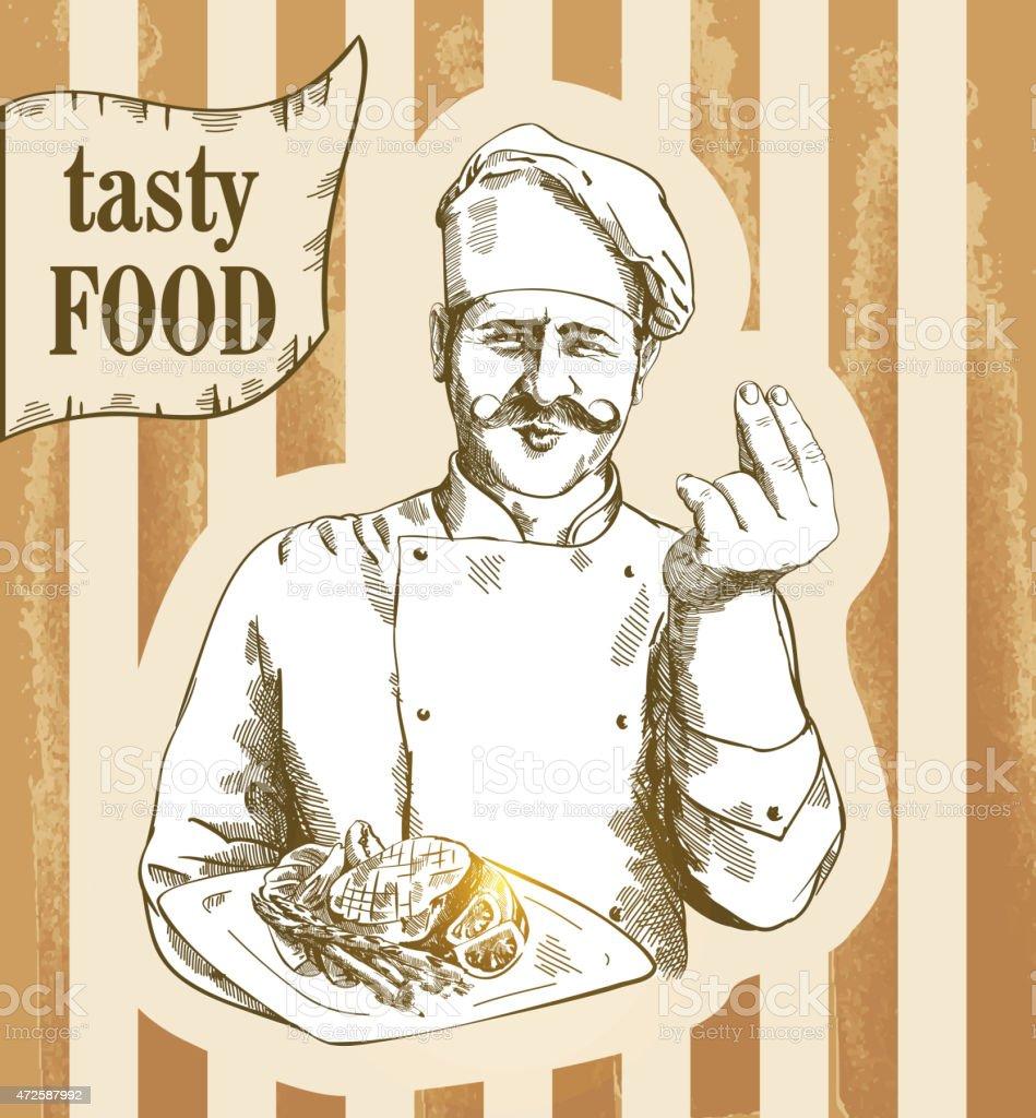 Chef serving the dish vector art illustration